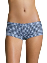 Hanky Panky Rolled Check Please Lace Boyshorts Navy Blue