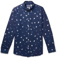 Blue Blue Japan Slim Fit Button Down Collar Polka Dot Cotton Twill Shirt Indigo