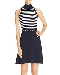 Michael Michael Kors Striped Fit And Flare Dress New Navy