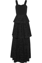 Noir Sachin And Babi Xilmena Tiered Corded Lace Tulle Crepe Gown Black
