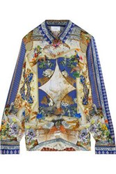 Camilla Woman Crystal Embellished Printed Silk Satin Shirt Blue
