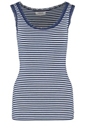 Zalando Essentials Top White Dark Blue
