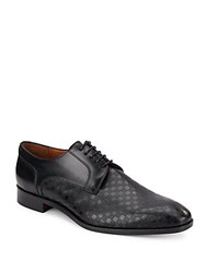 Massimo Matteo Perforated Checkered Leather Oxfords Black