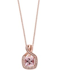 Effy Collection Blush By Effy Morganite 1 5 8 Ct. T.W. And Diamond 1 6 Ct. T.W. Swirl Pendant Necklace In 14K Rose Gold