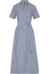 Lisa Marie Fernandez Patchwork Cotton Chambray Shirt Dress