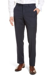 Nordstrom Men's Shop Check Flat Front Stretch Wool Pants Navy