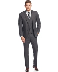 Kenneth Cole Reaction Grey Tonal Shadow Check Slim Fit Vested Suit 031Grey