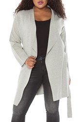 Slink Jeans Plus Size Women's Belted Long Cardigan Silver
