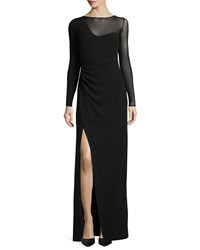 Halston Long Sleeve High Slit Evening Gown Black