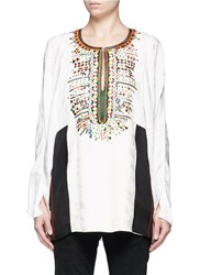 Chloe Button Embroidered Bib Floral Jacquard Tunic White