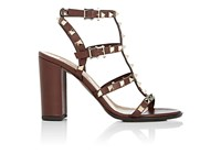 Valentino Women's Rockstud Leather T Strap Sandals Tan
