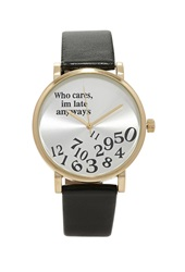 Forever 21 Faux Leather Late Watch Gold Black