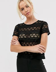 Vesper Flute Sleeve Lace Top Black
