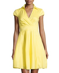 Betsey Johnson Cap Sleeve Fit And Flare Shirtdress Yellow