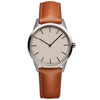 Uniform Wares C35 Wristwatch Polished Steel And Tan Leather