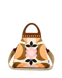 Miu Miu Floral Print Wooden Top Handle Bag Multi