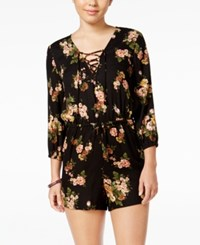 American Rag Lace Up Floral Print Romper Only At Macy's Classic Black Combo