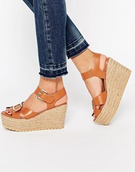 Asos Talking Point Wedge Sandals Tan