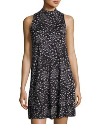 Kensie High Neck Print Shift Dress Gray