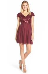 Speechless Sequin Bodice Cap Sleeve Skater Dress Burgundy