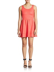 Saks Fifth Avenue Red Rose Embossed Scoopneck Fit And Flare Dress Coral