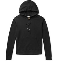 Saint Laurent Bolo Tie Leather Trimmed Loopback Cotton Jersey Hoodie Black
