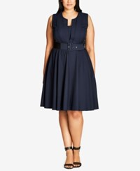 City Chic Trendy Plus Size Pleated A Line Dress Navy
