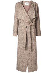 Goen.J Frayed Tweed Long Coat Brown