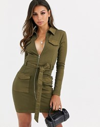Parisian Tie Waist Utility Dress In Khaki Green