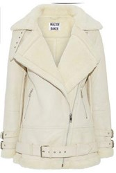 W118 By Walter Baker Adele Shearling Biker Jacket Cream