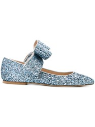 Polly Plume Bow Glitter Ballerina Shoes Calf Leather Leather Suede Blue