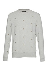 French Connection Men's Party Palms Embroidered Sweatshirt Grey