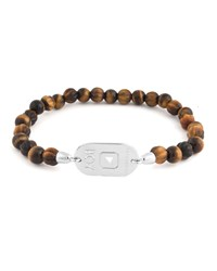 Tateossian Tiger's Eye Beaded Stretch Bracelet Brown