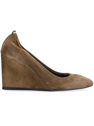 Lanvin Wedge Pumps Brown