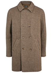A.P.C. Manteau Time Brown Tweed Coat