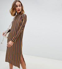 Reclaimed Vintage Inspired Midi Dress In Stripe Print Multi