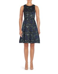 Eliza J Jacquard Fit And Flare Dress Black