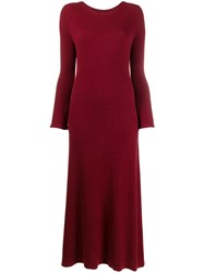 N.Peal Ribbed Cashmere Midi Dress Red