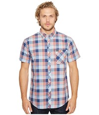 Brixton Howl Navy Plaid Men's Short Sleeve Button Up Blue