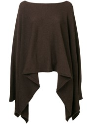 Agnona Boat Neck Poncho Brown