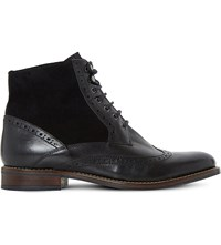 Dune Philomena Leather Brogue Ankle Boots Black Leather