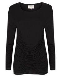 Havren Draped Ruched Front Jersey Top Black