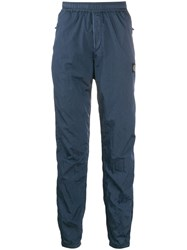Stone Island Logo Patch Track Trousers Blue