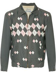 Fake Alpha Vintage 1950'S Argyle Jacket Grey