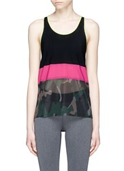 Monreal London Camouflage Print Mesh And Jersey Performance Racerback Tank Top Multi Colour