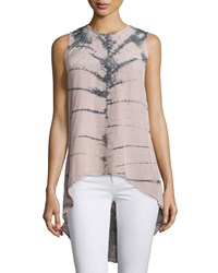 Nu Construction Marylin Tie Dye Scoop Back High Low Tank Silver Mauve