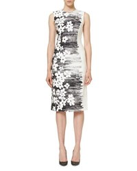 Carolina Herrera Sleeveless Floral Sheath Dress Black White Black White