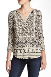 Lucky Brand Placed Scarf Tunic Black