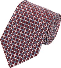 Brioni Neat Houndstooth Jacquard Neck Tie Red