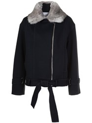 Carven Fur Lined Coat Blue